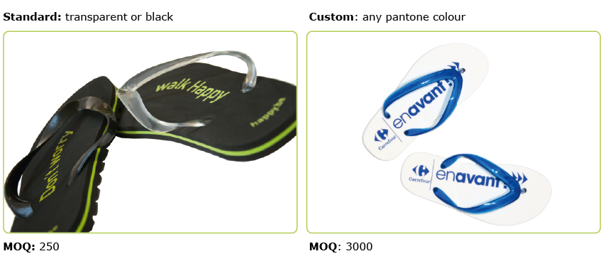 d9aeeb7a7e60f1 Standard we manufacture the flip flops with transparent (colourless) or  black toe straps. However