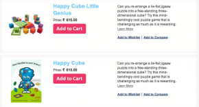 Screenshot of Happy Cubes on Full of Toys website.
