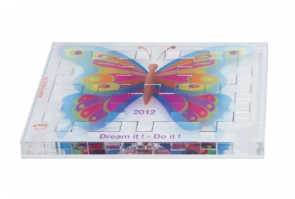 Happy Cube Acrylic puzzle with digital full colour print.