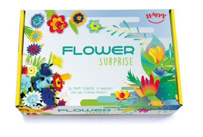 Flower Surprise box with 7 precut coloured foam sheets to make 36 flowers