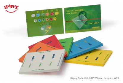 6 different coloured puzzles to collect - 3 cm cube with two coloured screen print, with custom full colour printed card.