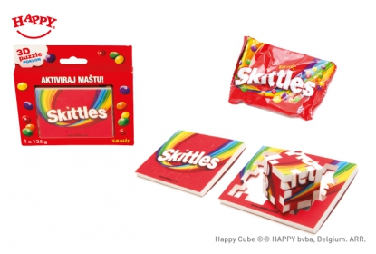The Happy Cube 3 cm cube here used as nice and colourful onpack item accompanying Skittles candy.