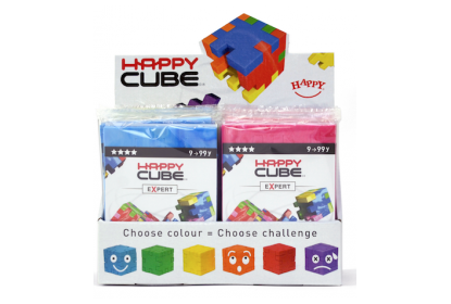 Display with 24 Happy Cube Expert puzzles