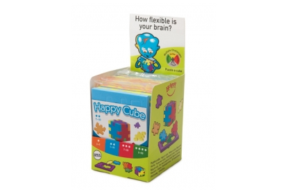 Happy Cube Puzzle Family Mini-Combidisplay - includes 12 foam puzzle cubes, flat packed in their frame.
